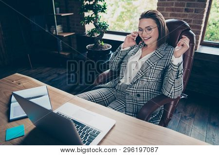 Close Up Photo Beautiful She Her Business Lady Tell Speak Investors Discuss Communicate Contract Tel
