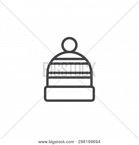 Winter Hat Line Icon. Linear Style Sign For Mobile Concept And Web Design. Knitted Hat Cap With Pom