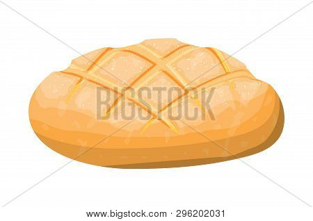 Loaf Of Wheat Toast Bread. Grain Bread Roll. Baked Food. Baguette. Bakery Shop. Vector Illustration
