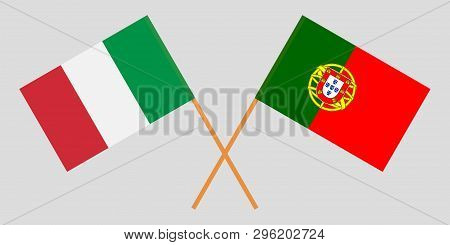 Portugal and Italy. The Portuguese and Italian flags. Official colors. Correct proportion. Vector illustration poster