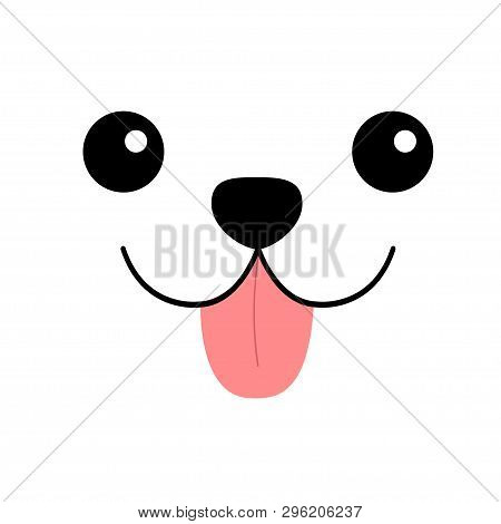 poster of Dog happy square face head icon. Pink tongue out. Contour line silhouette. Cute cartoon puppy character. Kawaii animal. Funny baby pooch. Love Greeting card. Flat design. Kids background. Vector