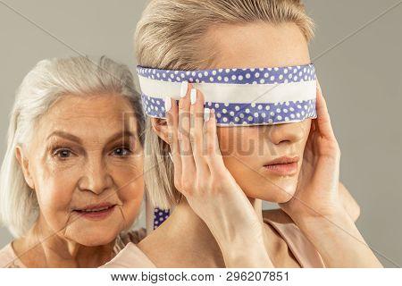 Portrait Of A Beautiful Pretty Woman Wearing Bandage