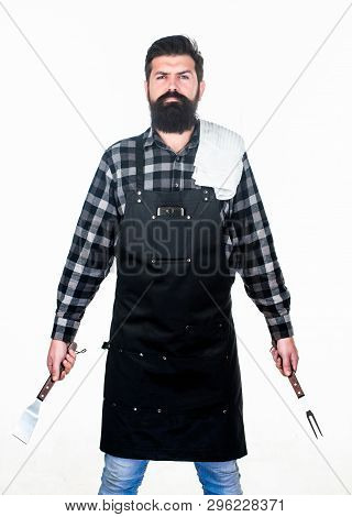 Being Ready For Bbq Party. Grill Cook Holding Spatula And Bbq Fork. Bearded Man With Bbq Tools In Ha