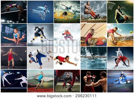 Sport Collage About Table Tennis, Badminton, Gymnastics, Boxing, Volleyball, Soccer And American Foo
