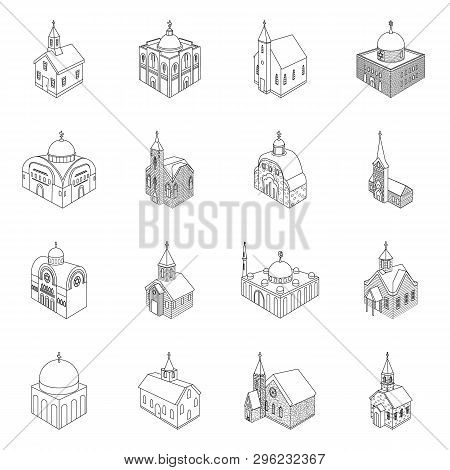 Isolated Object Of Architecture And Building Icon. Set Of Architecture And Clergy Vector Icon For St