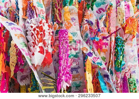 Colorful Zodiac Ceremonial Northern Thailand Flags.colorful Tung Lanna Style Flags, Chiangmai, Thail