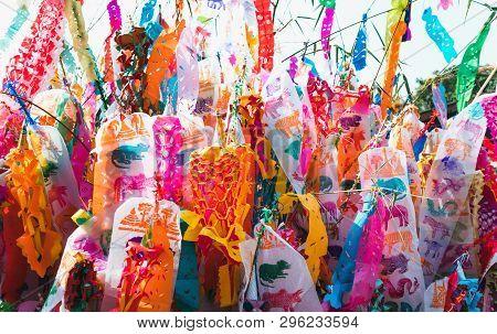 Northern Thailand Colorful Zodiac Flags .lanna Style Flags, Chiangmai, Thailand . During Songkran Fe