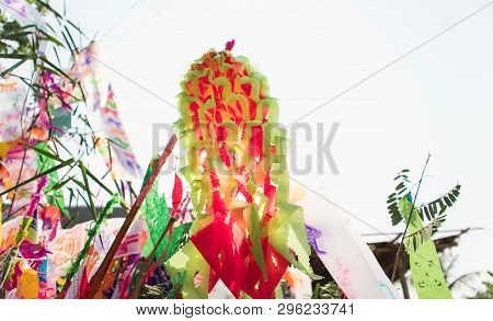 Red And Green Flags Of Northern Thailand With Bright Summer Sky.lanna Style Flags.songkran Chiangmai