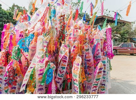 Colorful Tung Lanna Style Flags Of Northern Thailand. Chiangmai, Thailand . During Songkran Festival
