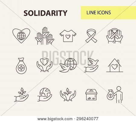 Solidarity icons. Line icons collection on white background. Charity foundation, world peace, ribbon. Support concept. Vector illustration can be used for topics like charity, volunteering, help poster