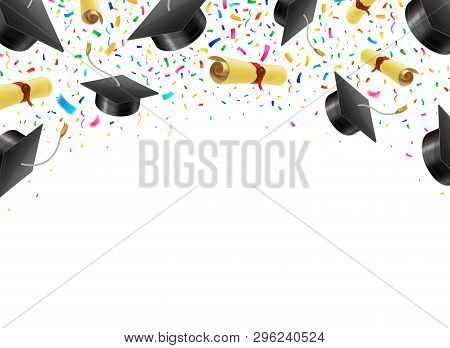 Graduate Caps And Diplomas Flying With Multi Colored Confetti. Academic Hats In Air With Ribbons