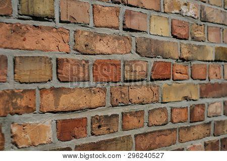Brick Wall Background - Brick Stones Perspective, Closeup -