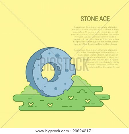 Vector Line Art Stone Wheel Illustration And Text