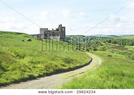 Crighton Castle And Hills Of Midlothian