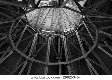 Metal Roof Structure Of Modern Building,black And White