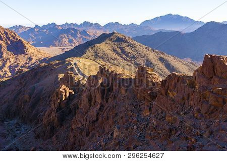 Amazing Sunrise at Sinai Mountain, Beautiful dawn in Egypt, Beautiful view from the mountain poster