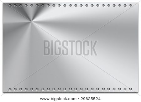 Steel plate on plain background