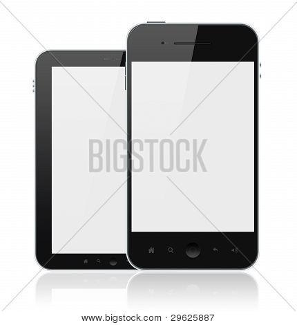 moderne Mobiltelefone mit leeren Bildschirm isoliert