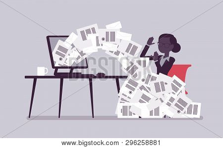 Paper Avalanche For Businesswoman. Female Office Worker Overloaded With Paperwork From Computer, Hea