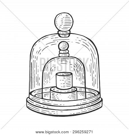 Standard Kilogram Prototype Sketch Engraving Vector Illustration. Scratch Board Style Imitation. Han