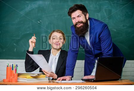 Look At This. Teacher And Student On Exam. Businessman And Secretary. Back To School. Non-formal Edu