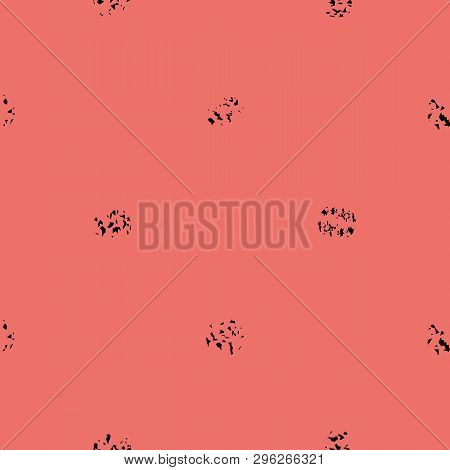 Black Varied Grunge Stipple On Bright Coral Background. Bold Seamless Geometric Vector Pattern With