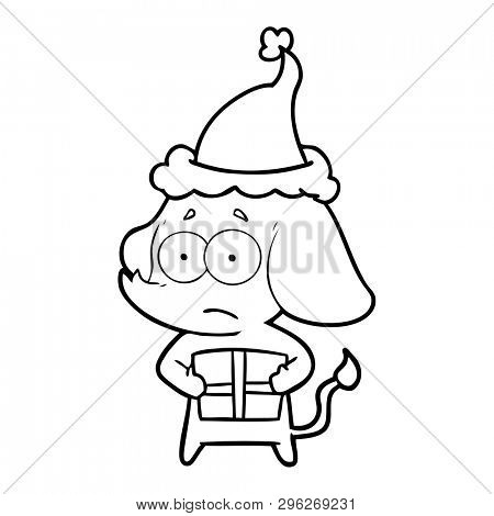 hand drawn line drawing of a unsure elephant with christmas present wearing santa hat
