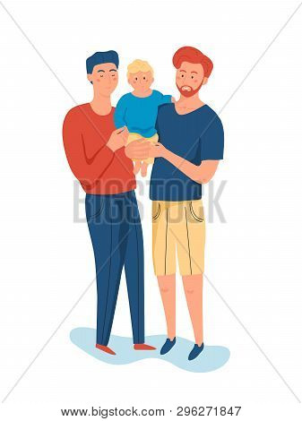 Same Sex Couple Of Handsome Men, Holding His Little Son Isolated On White Background. Gay Family, Ho