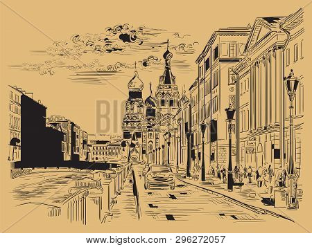 Cityscape Of Church Of The Savior On Blood In Saint Petersburg, Russia And Embankment Of River. Isol