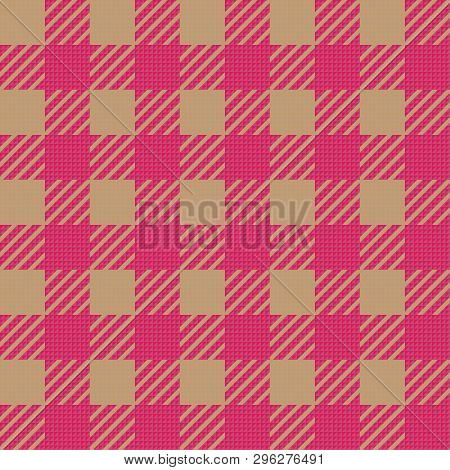 Vector Seamless Texture With Vichy Cage Ornament. Brown And Pink Cages