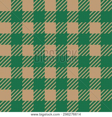 Vector Seamless Texture With Vichy Cage Ornament. Brown And Green Cages
