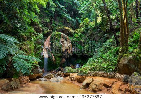 Caldeira Velha With Hot Spring And Waterfall, Longtime Exposure, Island Sao Miguel, Azores, Portugal