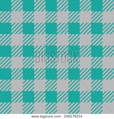 Vector Seamless Texture With Vichy Cage Ornament. Green And Grey Cages