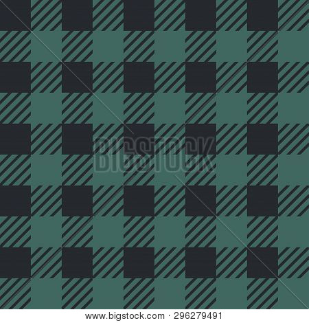 Vector Seamless Texture With Vichy Cage Ornament. Grey And Black Cages