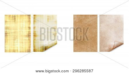Old Papers. Antiquarian Page. Vintage Parchment Isolated On White Background