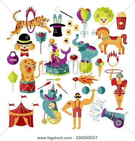 Circus. Vector Illustration Set With Circus Tent, Animals, Celebratory Objects. Flat And Outline Sty