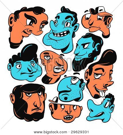 Freaky faces. Hand-drawn vector illustration.