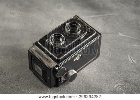 Moscow, Russia, April 19, 2019. The Old German Medium-format Tlr Film Camera Zeiss Ikon Ikoflex Iii