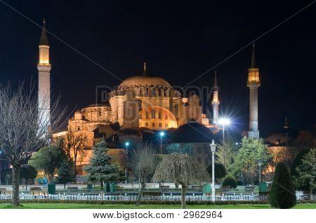 Haghia Sofia Museum At Night Istanbul Turkey