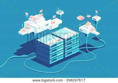 Server Rack Equipment Vector Illustration. Data Center