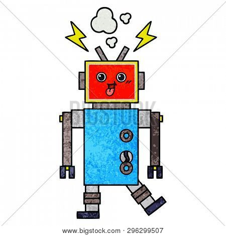 retro grunge texture cartoon of a crazed robot