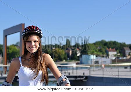 Athlete with helmet