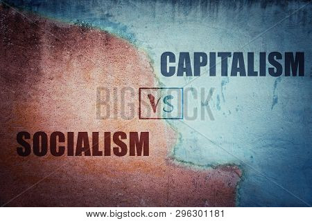 Socialism Versus Capitalism Split Concrete Wall Cracked In Two Different Halves, Red And Blue Side.