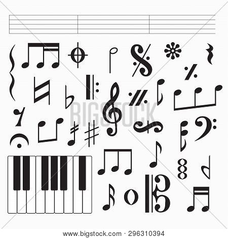 Set Of Black Music Signs And Symbols, Clefs And Codas Isolated On White Background. Vector Illustrat