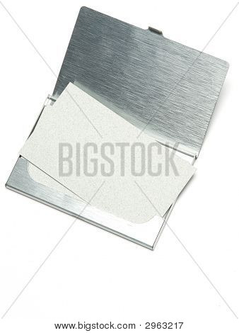 The pile of business card lays in the holder on a white background poster