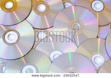 Cd's And Dvd's On The Table