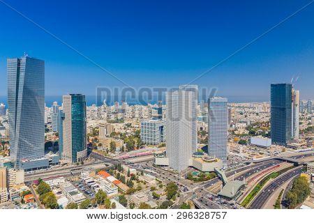 Large Panorama Of Tel Aviv Skyline,  Tel Aviv Cityscape Large Panorama At Day, Israel