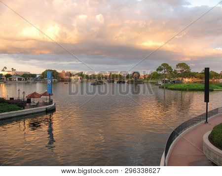 Picture Of A Small Lake Taken At Sunset At The Epcot Park In  In Florida Taken April 10 2019,