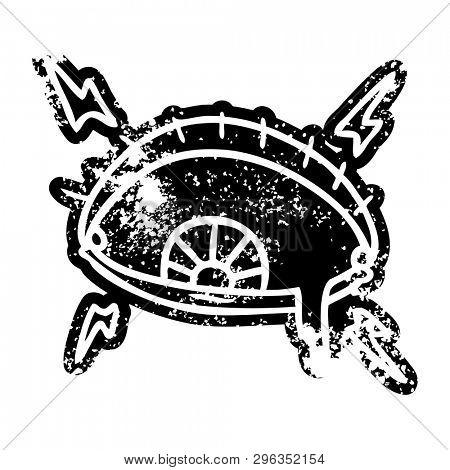 grunge distressed icon of an enraged eye poster