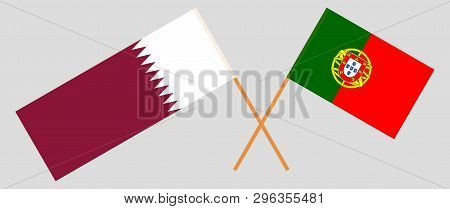 Portugal And Qatar. The Portuguese And Qatari Flags. Official Colors. Correct Proportion. Vector Ill